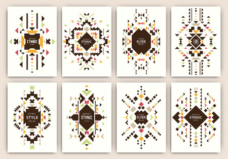 Set of geometric abstract colorful flyers - ethnic style brochure templates - collection of design elements - modern background templates Ilustracja