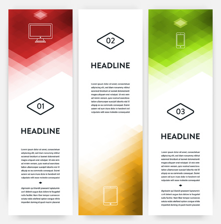 Banner Template Design Set - Vertical Banner Collection with Geometric Background Illustration