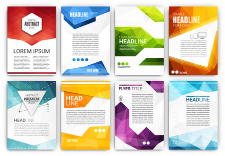 Poster Design Template Set - Abstract modern polygonal flyer collection