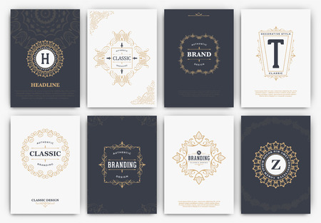 et: Calligraphic Flyer Design Template Set - Classic Ornamental Style - Elegant luxury frames with typography - Ideal for restaurant, hotel, cafe or other businesses with classic corporate identity