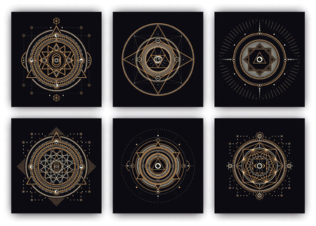 Sacred Symbols Design Set - Collection of Abstract Geometric Illustrations - Gold and White Elements on Dark Background Vectores