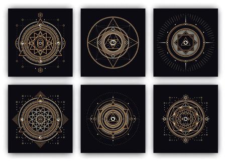 Símbolos sagrados Design - Colección de ilustraciones geométricas abstractas - elementos de oro y blanco sobre fondo oscuro