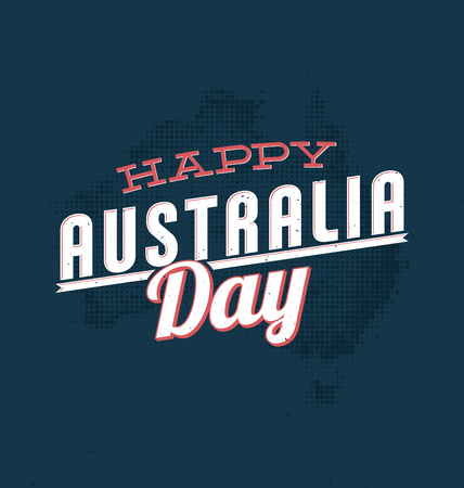 australia stamp: Australia Day - 26 January - Vintage Typographic Design Illustration