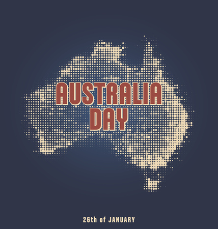 26 january: Australia Day - 26 January - Typographic Design with Halftone Map