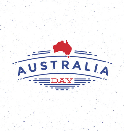 26 january: Australia Day - 26 January - Typographic Design - Trendy vintage style badge on white background Illustration