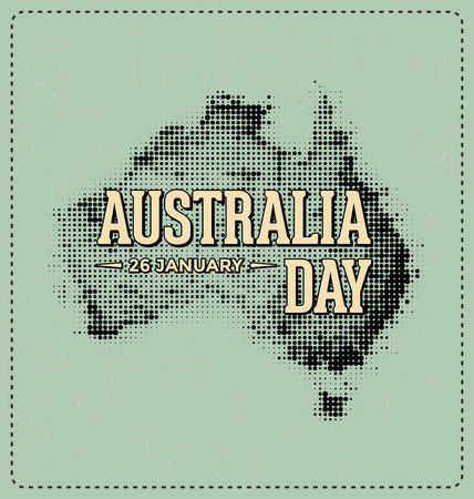 26th: Australia Day - 26 January - Typographic Design with Halftone Map