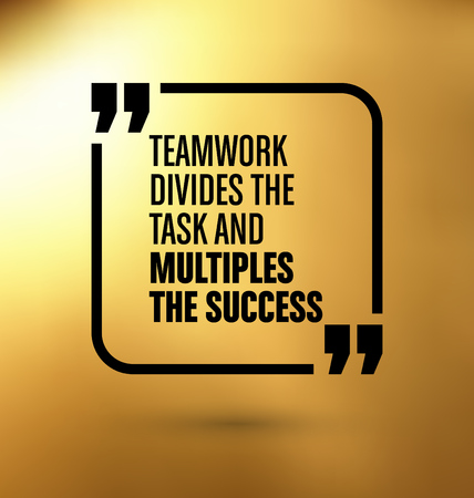 Framed Quote on Gold Yellow Background - Teamwork divides the task and multiplies the success