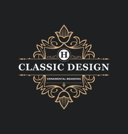 Kalligrafische Label Design Template - Classic Ornamental Style. Elegante luxe frame met typografie - Ideaal voor restaurant, hotel, cafe en andere bedrijven met klassieke corporate identity visual