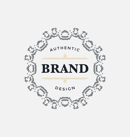 classic style: Calligraphic Label Design Template - Classic Ornamental Style. Elegant luxury frame with typography - Ideal for restaurant, hotel, cafe and other businesses with classic corporate identity visual Illustration