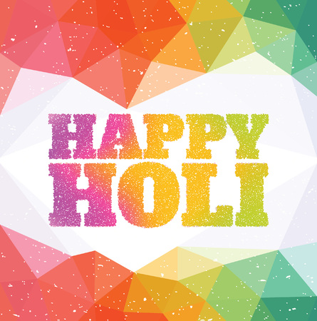 culture decoration celebration: Happy Holi - Colourful Indian Celebration - Typographic Illustration Illustration