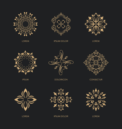 alternative medicine: Collection of design templates and emblems - trendy linear style - golden colors on black background - Abstract Icon design Set