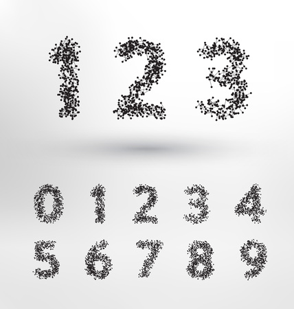 Geometric Numbers Design Set - Small connected dots and lines form the latin numbers - Abstract Technological Typography Concept Illustration