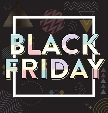 Conception typographique de vente de vendredi noir - cadre et formes géométriques
