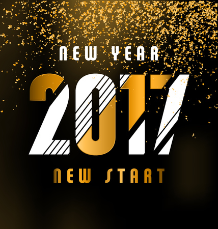 new start: 2017 - calligraphic new year greeting design - white and gold typography on a dark background with golden glitter - New year new start