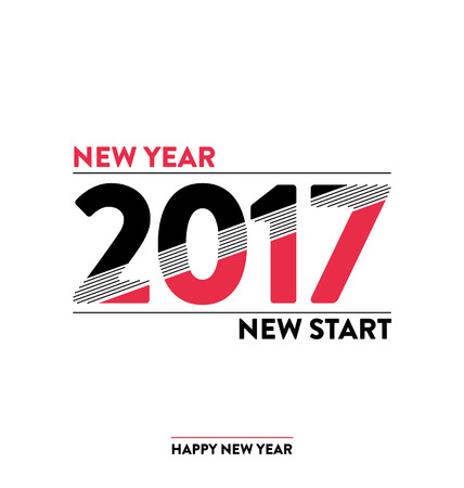 new start: 2017 - calligraphic new year greeting design - trendy lines and shapes typography - New year new start