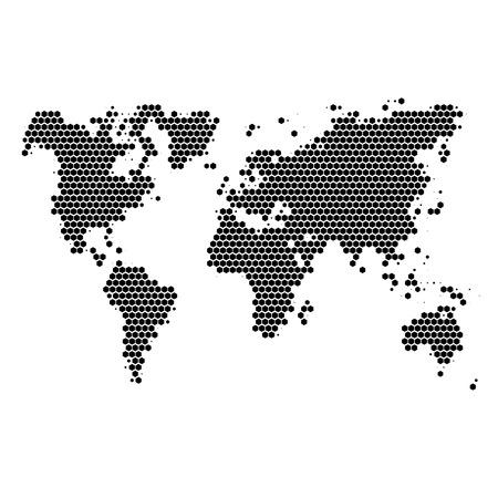 Monochrome halftone world map Illustration