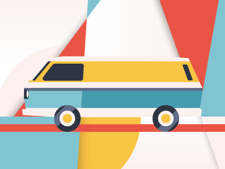 fare: Van Illustration - Retro look - Abstract geometric shapes background in trendy colors