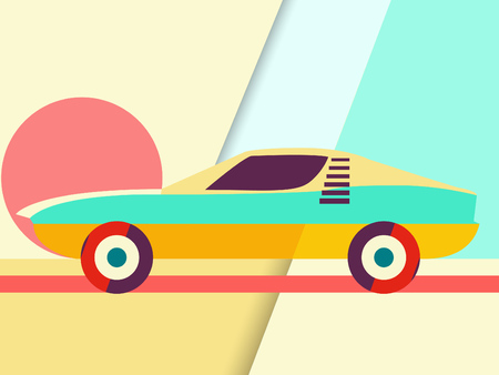 Sports Car Illustration - Retro look - Abstract geometric shapes background in trendy colors