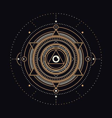 暗い背景に神聖なシンボル デザイン - 抽象的な幾何学的な図 - ゴールドと白要素