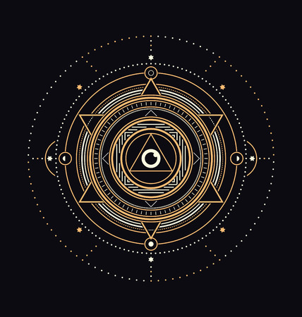 Sacred Symbols Design - Abstract Geometric Illustration - Gold and White Elements on Dark Background