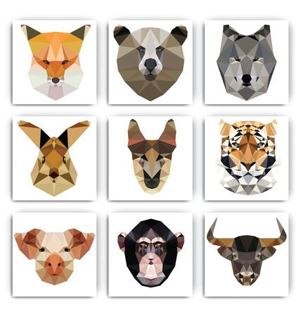 Low polygon animal. Triangular geometric set. Fox, Bear, Wolf, Rabbit, Dog, Tiger, Pig, Monkey, Bull. Vector illustration