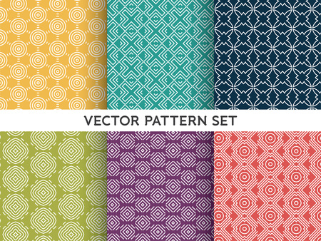 Modelo del vector Conjunto - colección de línea mono patrones geométricos sobre fondos de colores