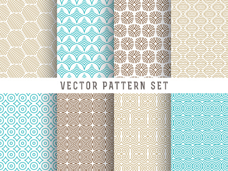 Vector Pattern Set - Collection of mono line geometric patterns on colorful backgrounds Illustration