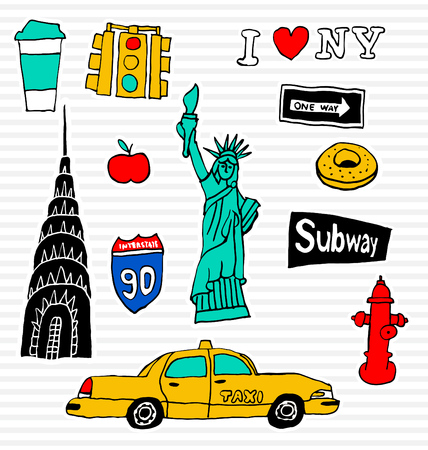 fashion collection: New York Fashion Patch Set - Collection of badges and pins Illustration