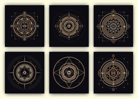 신성한 기하학 디자인 설정 - 신성한 기하학 삽화의 컬렉션 - 골드 및 어두운 배경에 흰색 요소 - 신성한 기하학 기호 - 신성한 기하학의 디자인 요소 일러스트