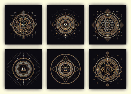 geometry: Sacred Geometry Design Set - Collection of Sacred Geometry Illustrations - Gold and White Elements on Dark Background - Sacred Geometry Symbols - Design Elements of Sacred Geometry