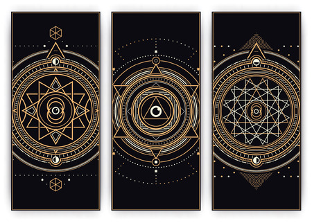 pentagram: Sacred Symbols Design Set - Collection of Abstract Geometric Illustrations - Gold and White Elements on Dark Background Illustration