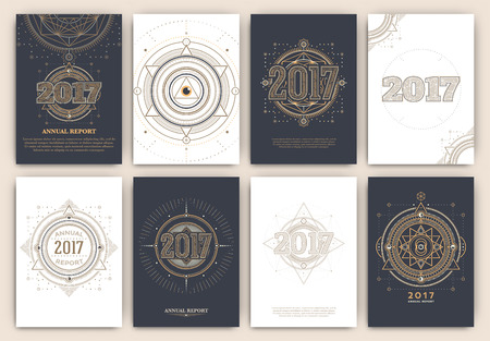 2017 - Annual Report Flyers - Sacred Symbols Design Set - Collection of Abstract Geometric Illustrations - Gold and White Elements on Dark Background Vectores