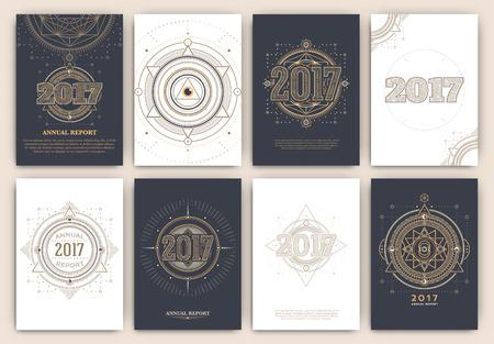 2017 - Jahresbericht Flyer - Heilige Symbole Design Set - Sammlung Abstrakte geometrische Illustrationen - Gold und weiße Elemente auf dunklem Hintergrund