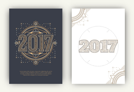 year greetings: 2017 - Annual Report Flyers - Sacred Symbols Design Set - Gold and White Elements on Dark and Light Background