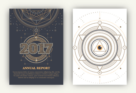 astrology: 2017 - Annual Report Flyers - Sacred Symbols Design Set - Gold and White Elements on Dark and Light Background