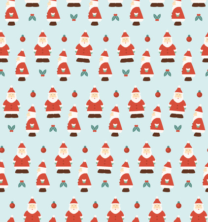 christmas wrapping: Santa Claus Pattern - Side and Front view of Santa Claus - Christmas Wrapping Paper Pattern Design Illustration