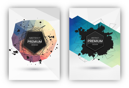 Poster or Flyer Design Template Set - Abstract modern polygonal backgrounds collection