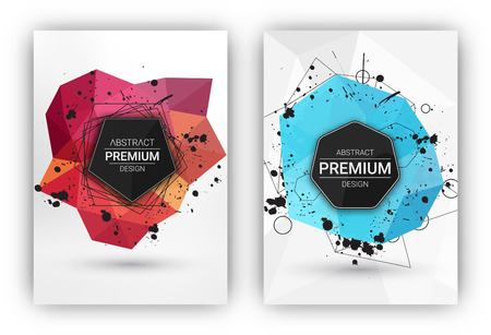 poster backgrounds: Poster or Flyer Design Template Set - Abstract modern polygonal backgrounds collection