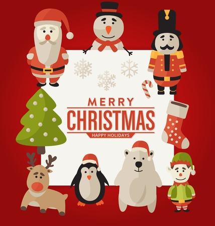 christmas characters: Christmas Greeting Card Design - Seasonal Christmas Characters and Elements - Santa Claus, Snowman, Nutcracker Figure, Reindeer, Elf, Penguin, Polar Bear - Merry Christmas - Happy Holidays
