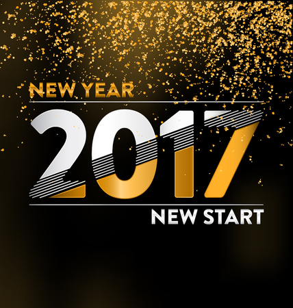 2017 - calligraphic new year greeting design - white and gold typography on a dark background with golden glitter - New year new start