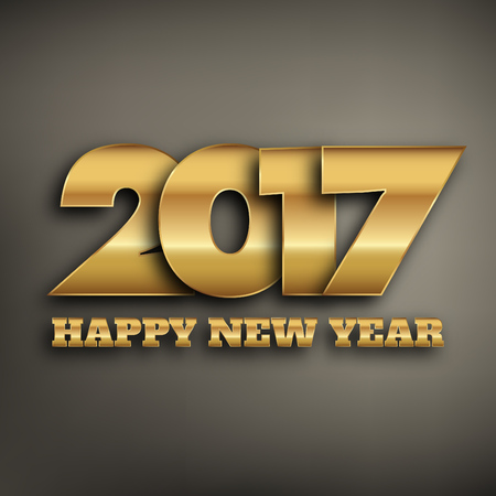 2017 - typographic new year greeting design - gold typography on a dark background