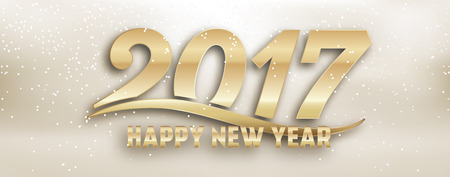 2017 - creative new year social media page cover design - gold typography on light creamy background with glitter