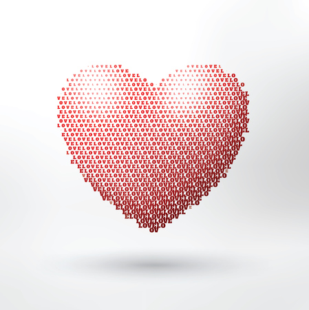 Heart Shaped Typographic Valentines Day Design - The word Love repeatedly forms a heart symbol 向量圖像
