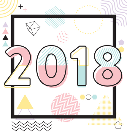2018 - Calligraphic New Year Greeting Design - Trendy Lines And ...