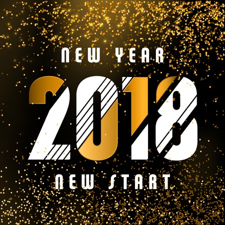2018 - calligraphic new year greeting design - white and gold typography on a dark background with golden glitter - New year new start