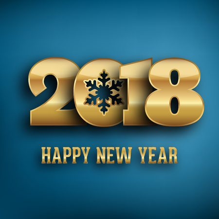 2018 - calligraphic new year greeting design - gold typography on a blue background Illustration