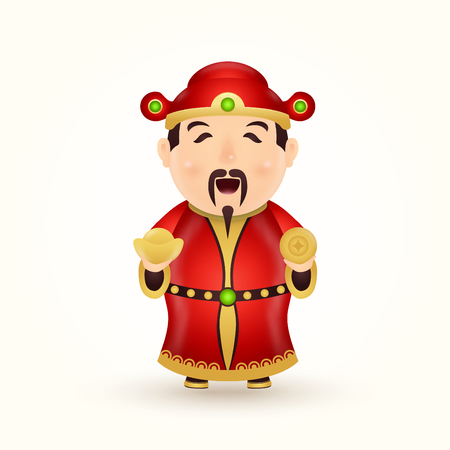 Chinese God of wealth and prosperity character isolated on white background Illustration