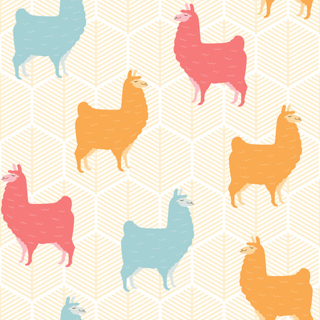 Cute llama seamless pattern design - Colorful llama illustrations with geometric elements - funny llama characters in endless pattern background