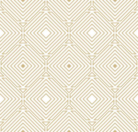 Abstract geometric pattern with lines - Gold and white design - Seamless vector background