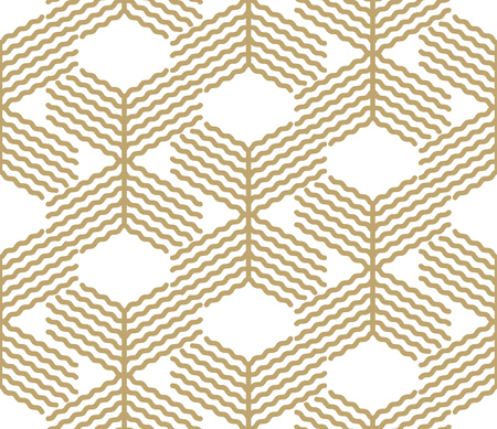 Abstract geometric pattern with lines Gold and white design seamless vector background. Illustration